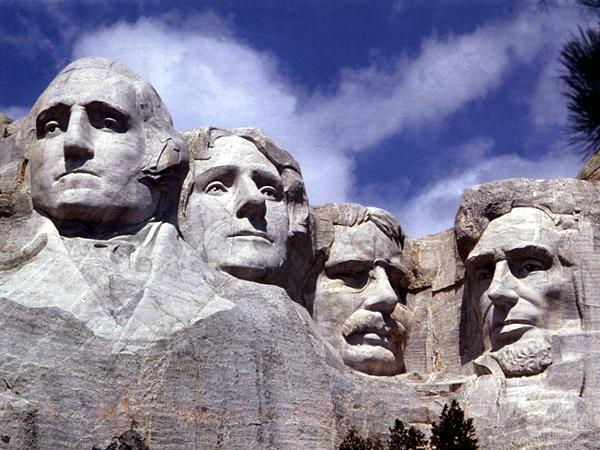Mount Rushmore in South Dakota. The sculptures depict (left to right) George Washington, Thomas Jefferson, Theodore Roosevelt and Abraham Lincoln.