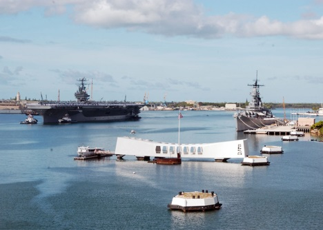 USS Arizona memorial (foreground) - USS Abraham Lincoln and USS Missouri can be seen in the background